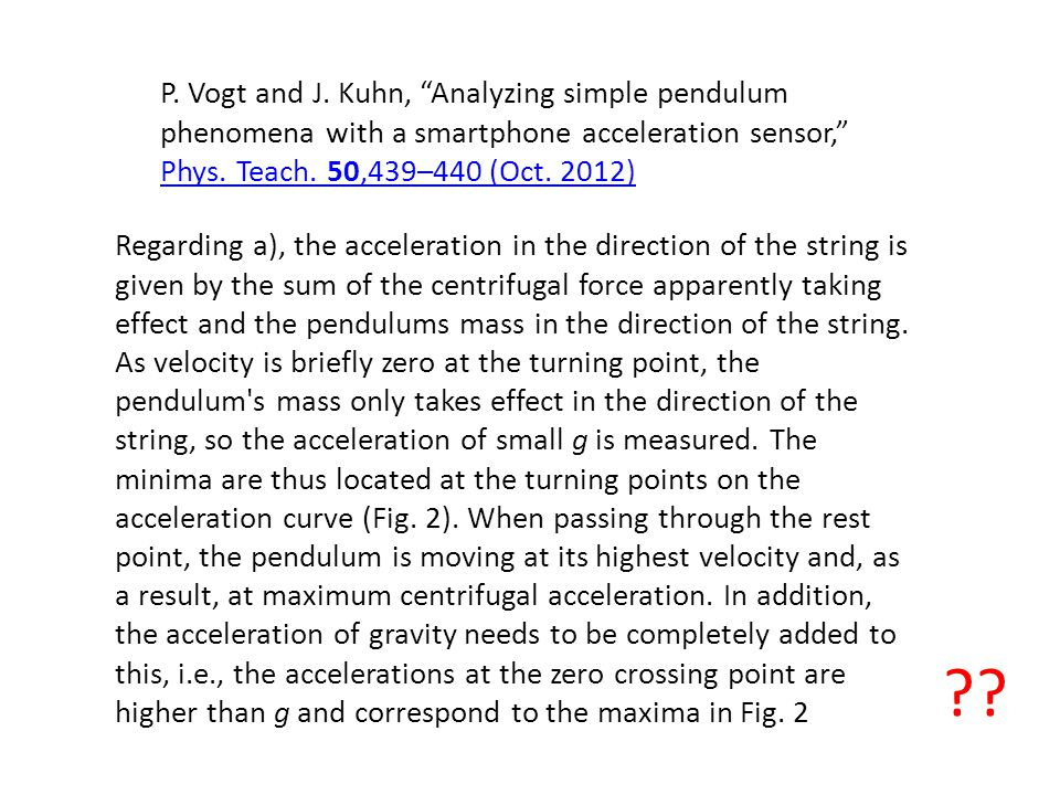 P. Vogt and J. Kuhn, Analyzing simple pendulum phenomena with a smartphone acceleration sensor, Phys. Teach. 50,439–440 (Oct. 2012)