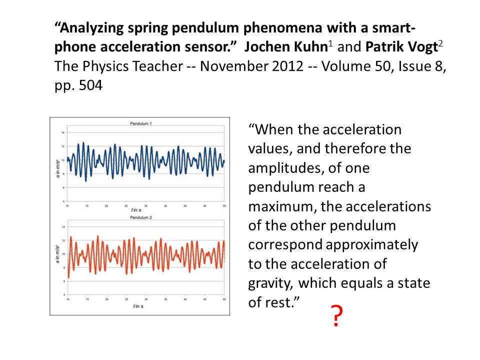 Analyzing spring pendulum phenomena with a smart-phone acceleration sensor. Jochen Kuhn1 and Patrik Vogt2