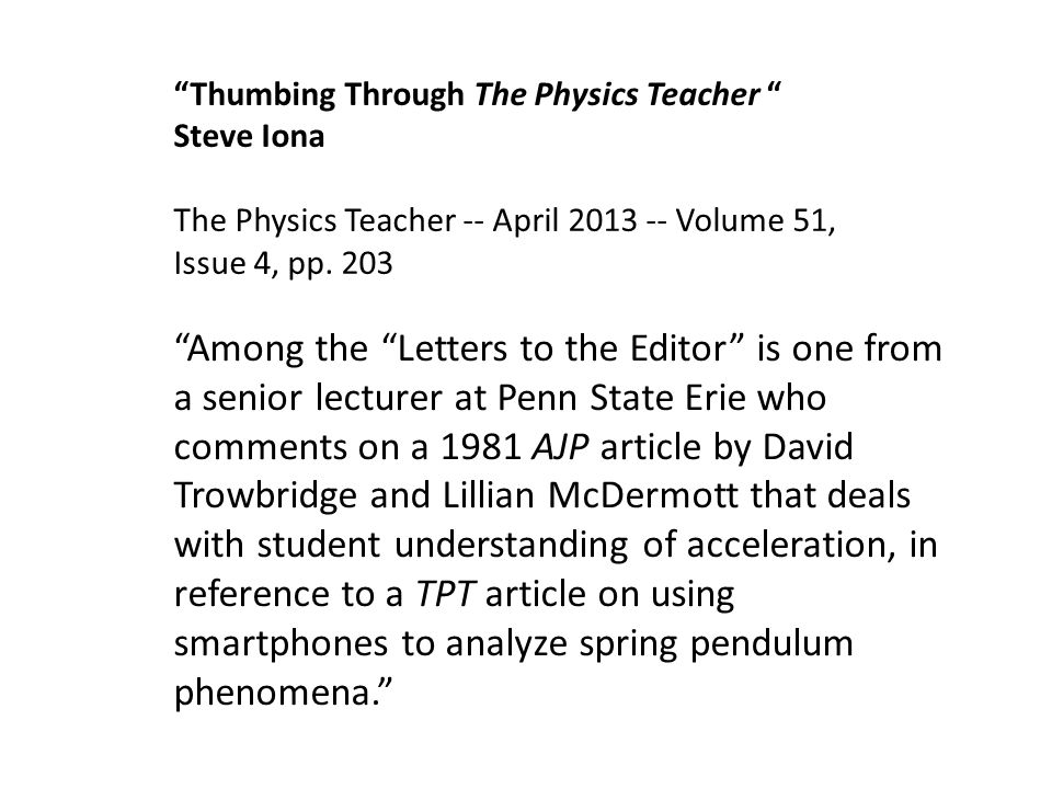 Thumbing Through The Physics Teacher Steve Iona