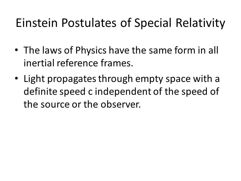 Einstein Postulates of Special Relativity