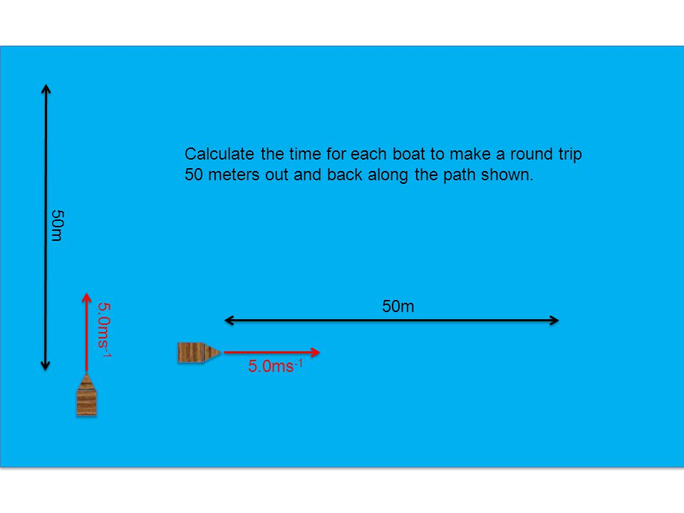 Calculate the time for each boat to make a round trip 50 meters out and back along the path shown.