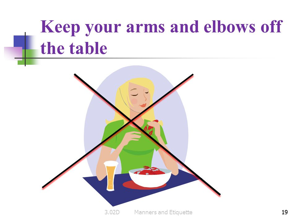 Keep your arms and elbows off the table