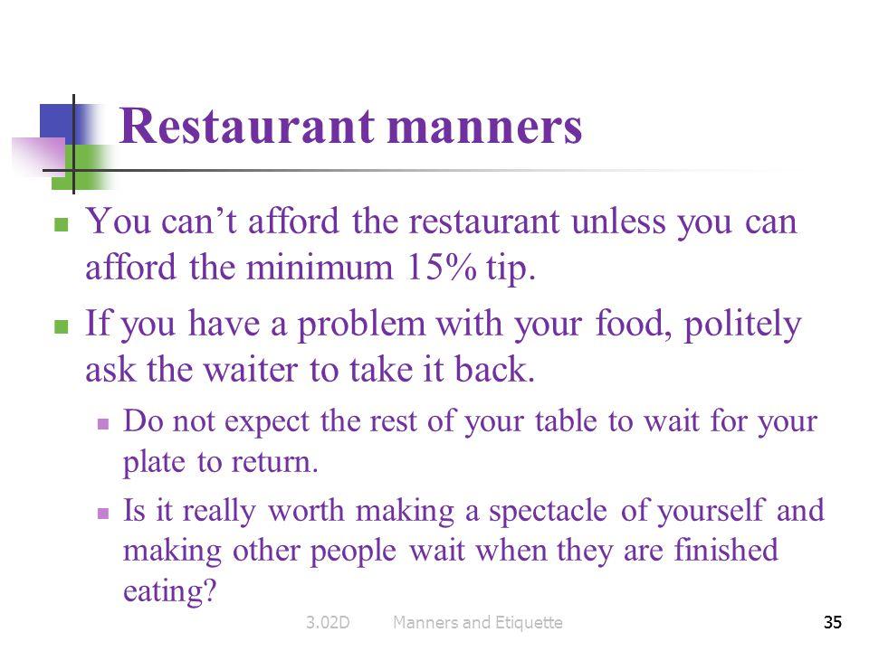 3.02D Manners and Etiquette