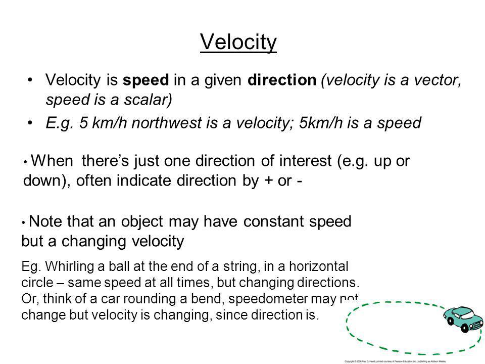 Velocity Velocity is speed in a given direction (velocity is a vector, speed is a scalar) E.g. 5 km/h northwest is a velocity; 5km/h is a speed.