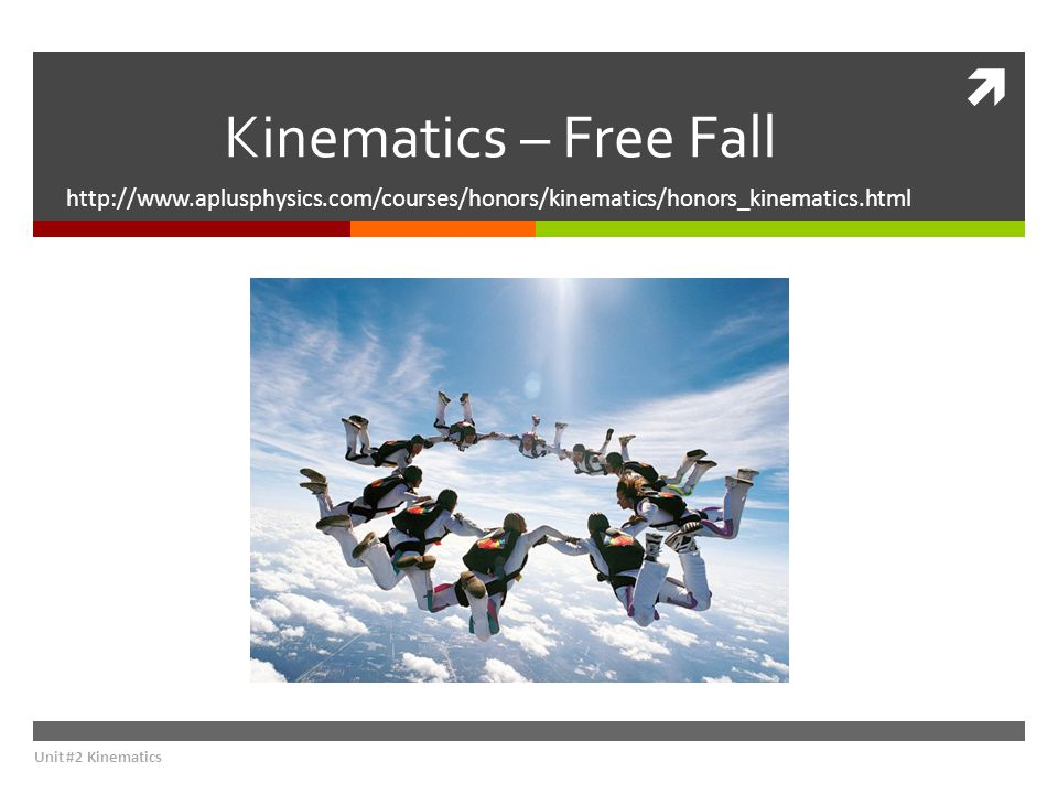 Kinematics – Free Fall http://www.aplusphysics.com/courses/honors/kinematics/honors_kinematics.html.