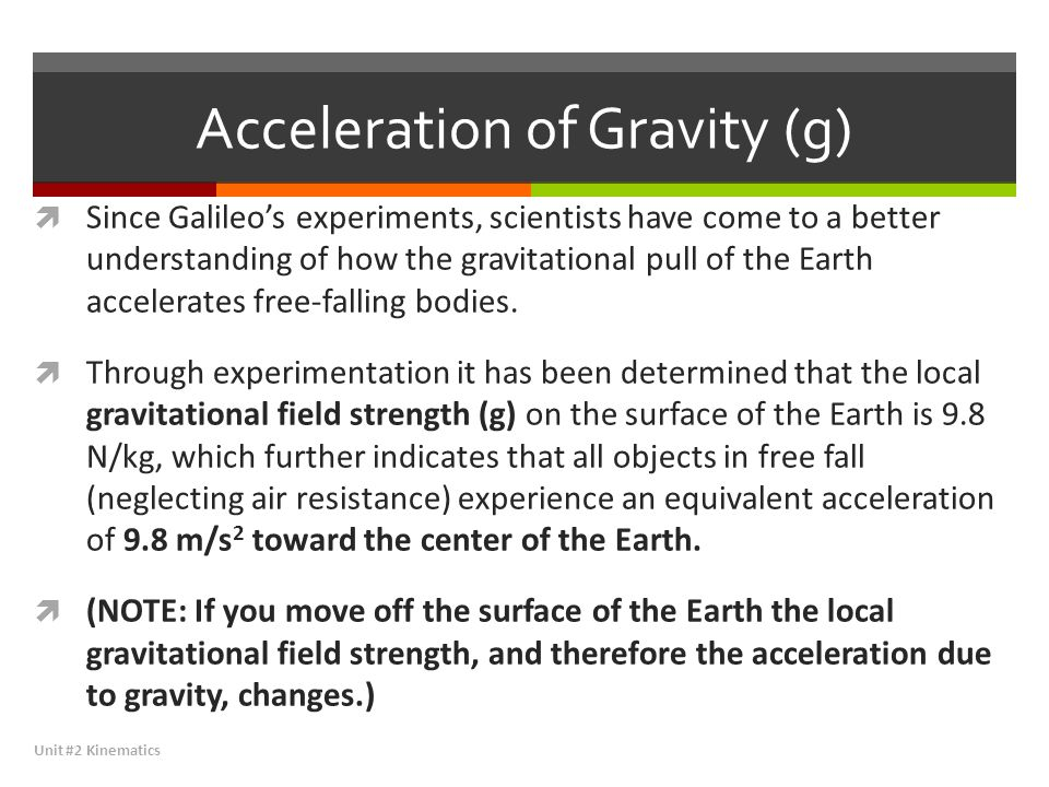 Acceleration of Gravity (g)