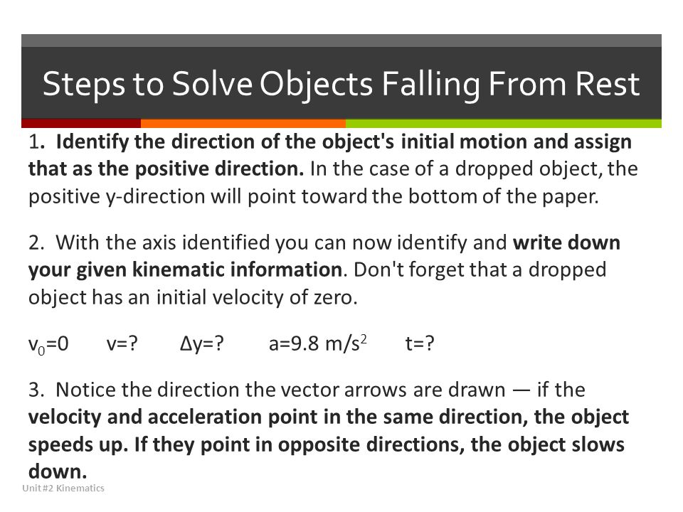 Steps to Solve Objects Falling From Rest