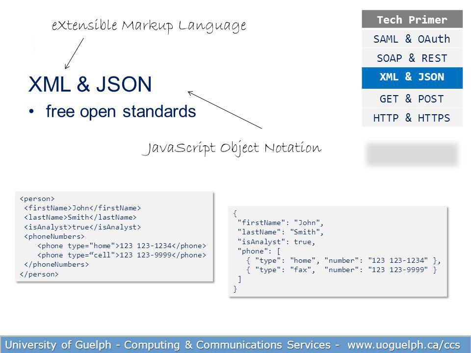 XML & JSON free open standards eXtensible Markup Language