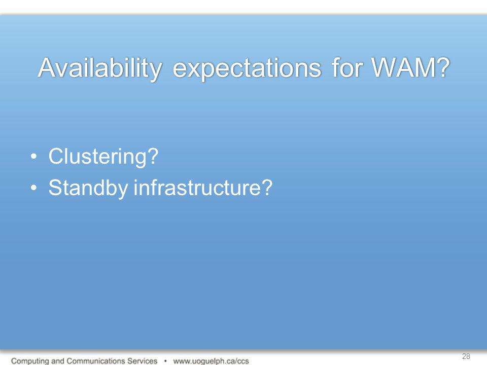 Availability expectations for WAM