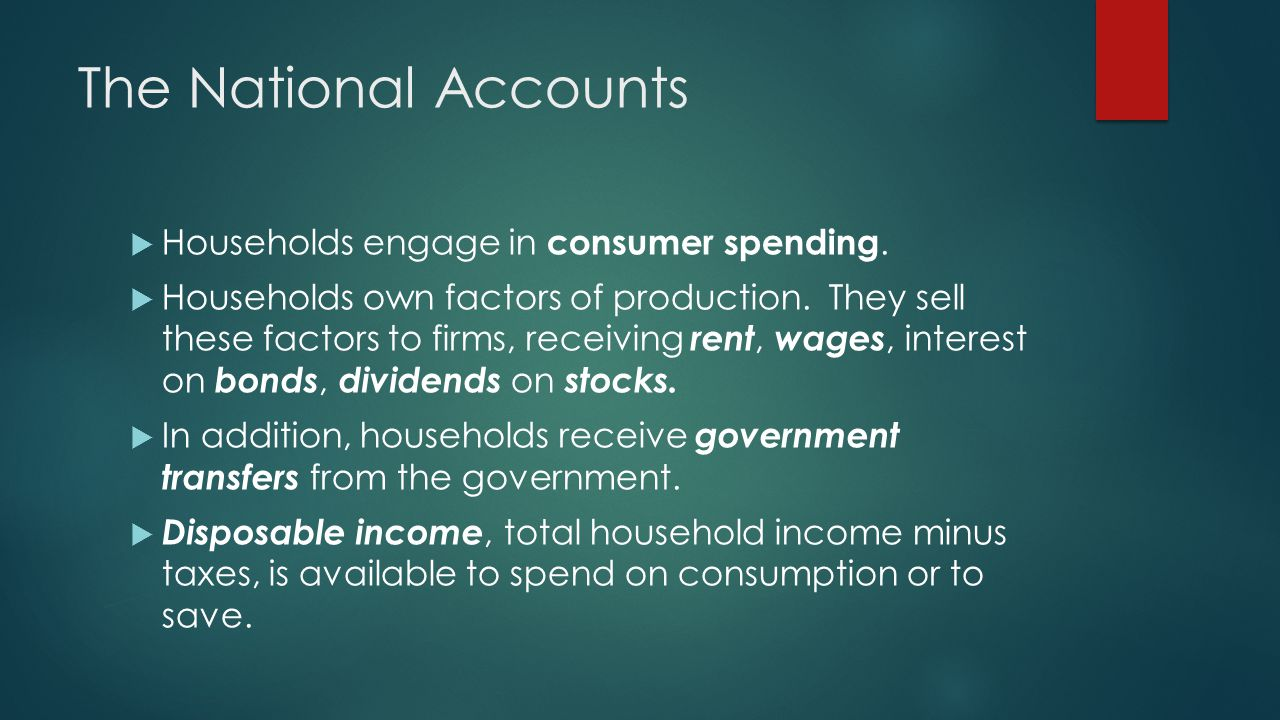 The National Accounts Households engage in consumer spending.