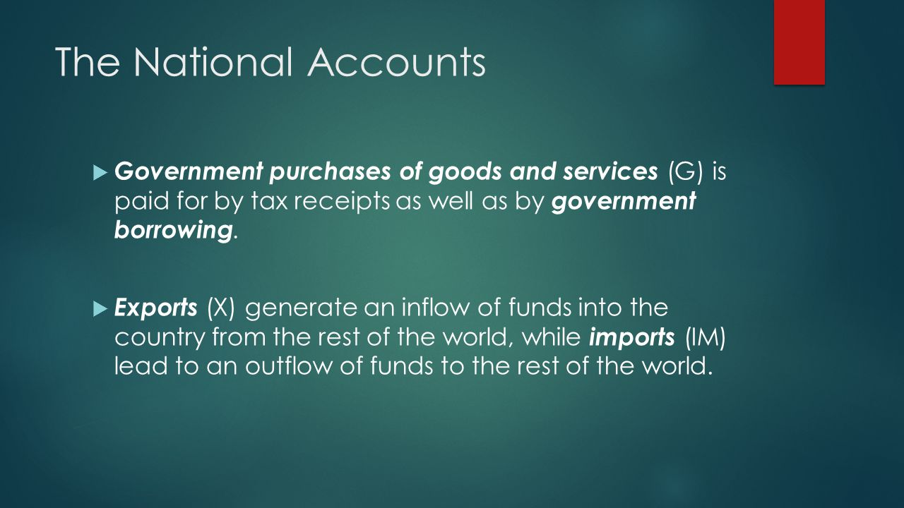 The National Accounts Government purchases of goods and services (G) is paid for by tax receipts as well as by government borrowing.