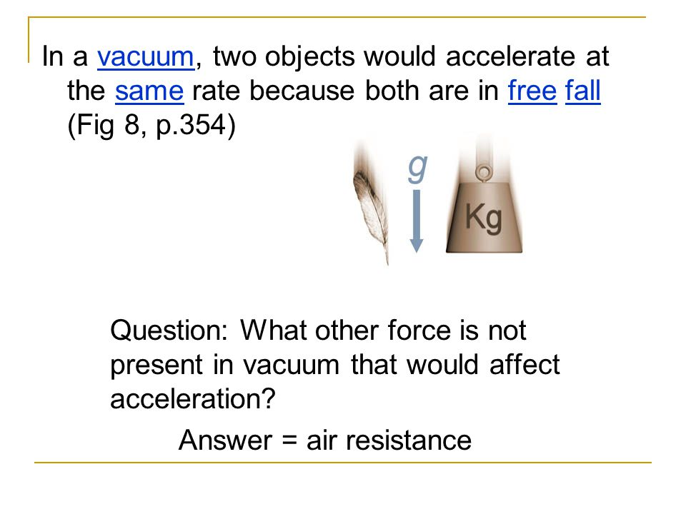 In a vacuum, two objects would accelerate at the same rate because both are in free fall (Fig 8, p.354)