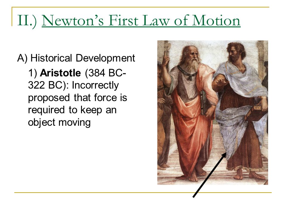II.) Newton's First Law of Motion