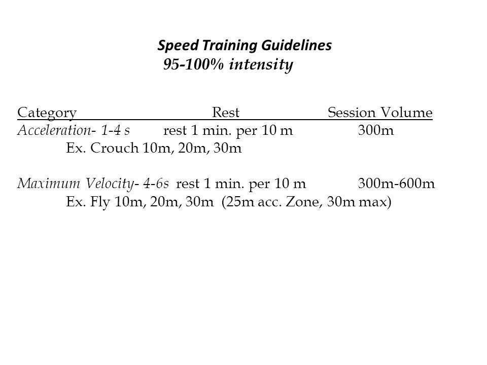 Speed Training Guidelines