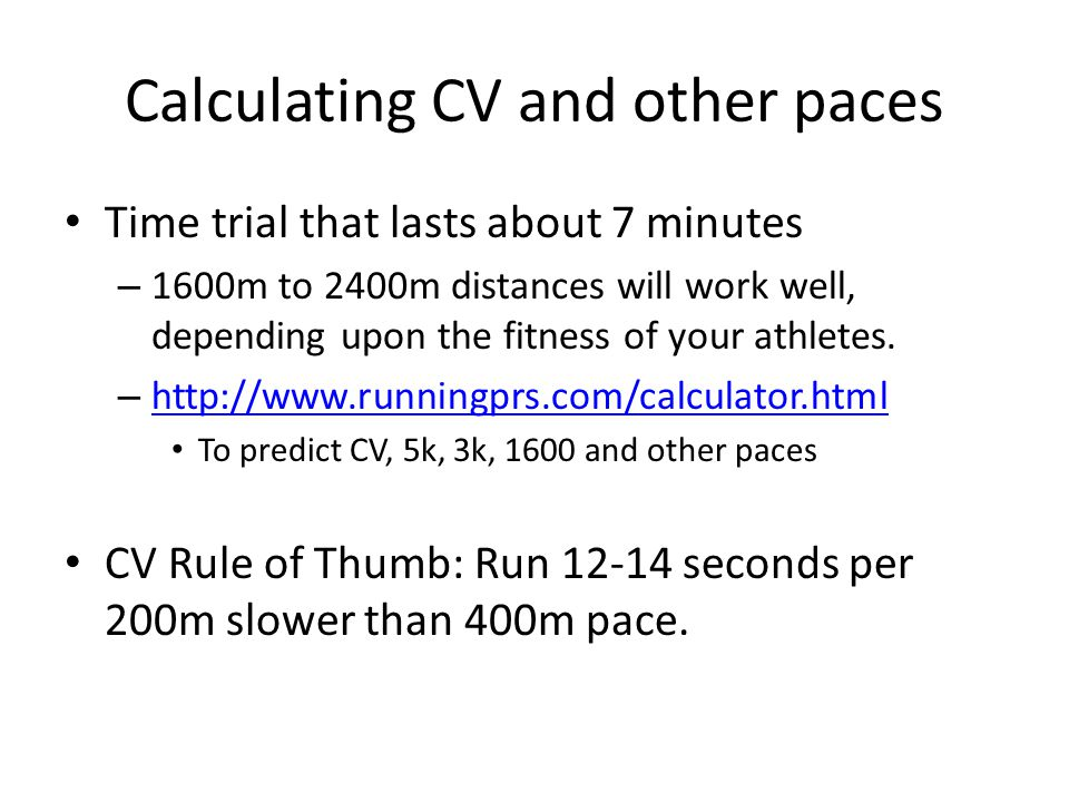 Calculating CV and other paces