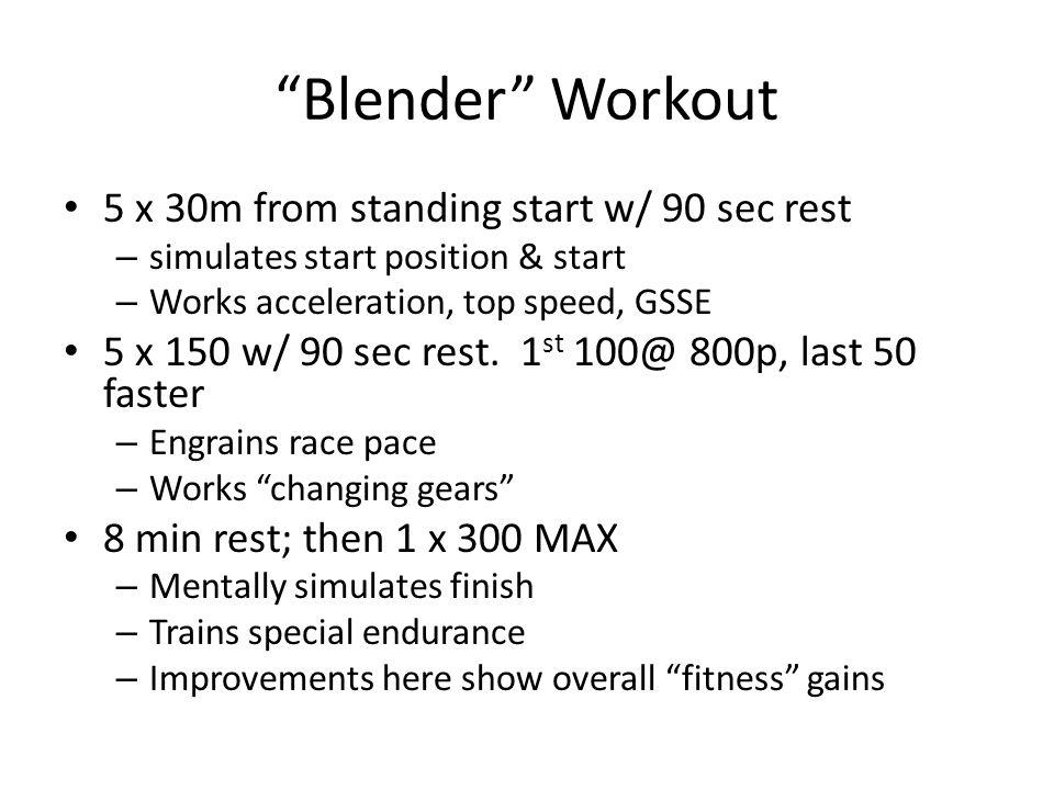 Blender Workout 5 x 30m from standing start w/ 90 sec rest
