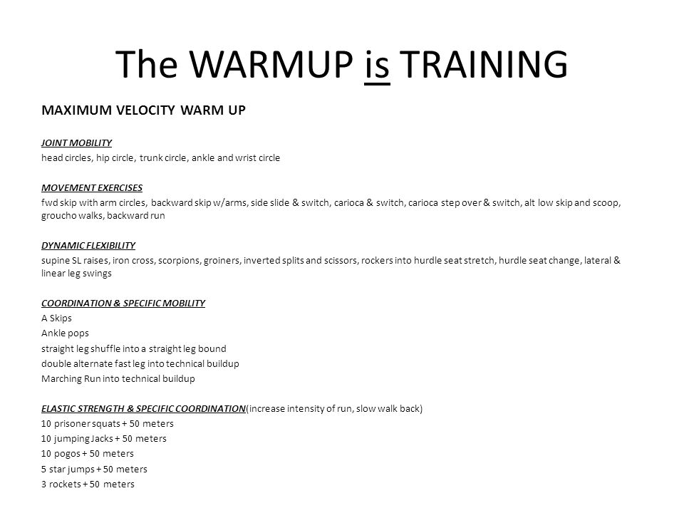 The WARMUP is TRAINING MAXIMUM VELOCITY WARM UP JOINT MOBILITY