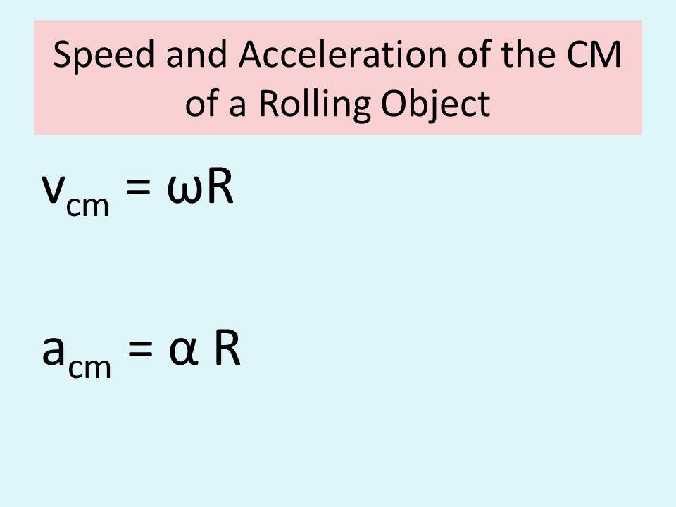 Speed and Acceleration of the CM of a Rolling Object