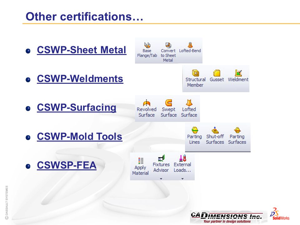 Other certifications…