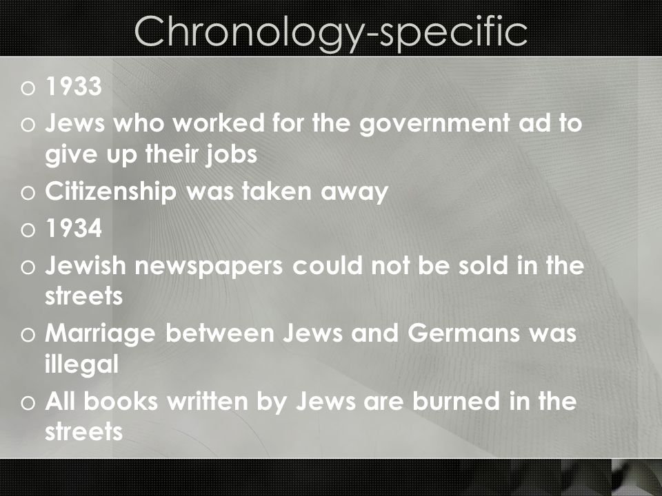 Chronology-specific 1933. Jews who worked for the government ad to give up their jobs. Citizenship was taken away.
