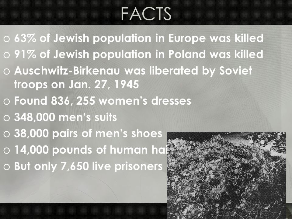 FACTS 63% of Jewish population in Europe was killed