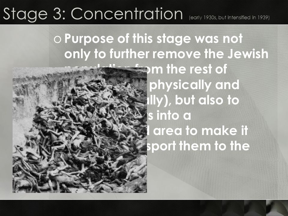 Stage 3: Concentration (early 1930s, but intensified in 1939)