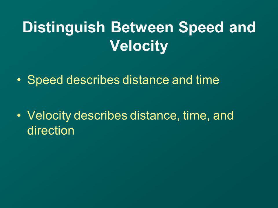 Distinguish Between Speed and Velocity