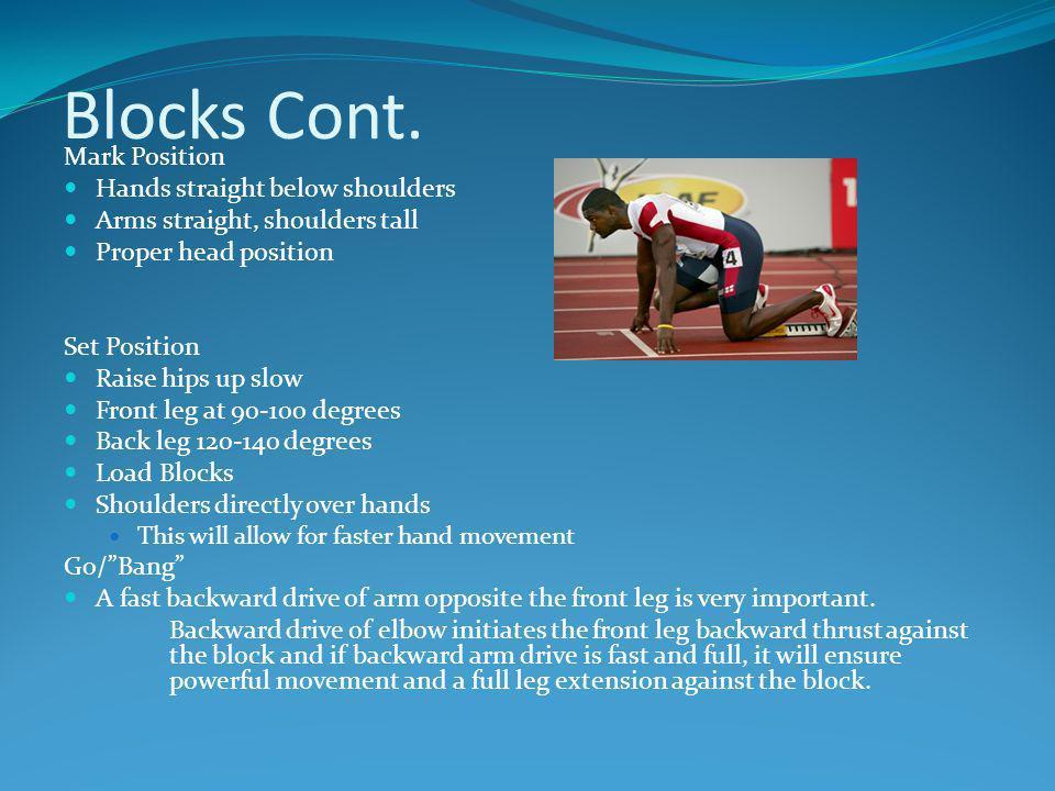 Blocks Cont. Mark Position Hands straight below shoulders