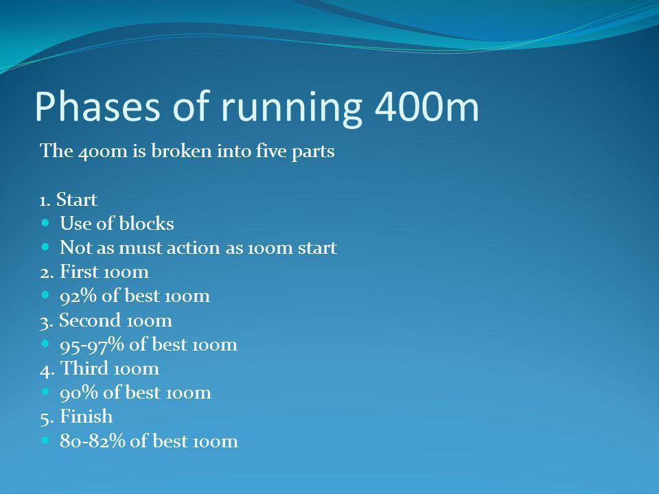 Phases of running 400m The 400m is broken into five parts 1. Start