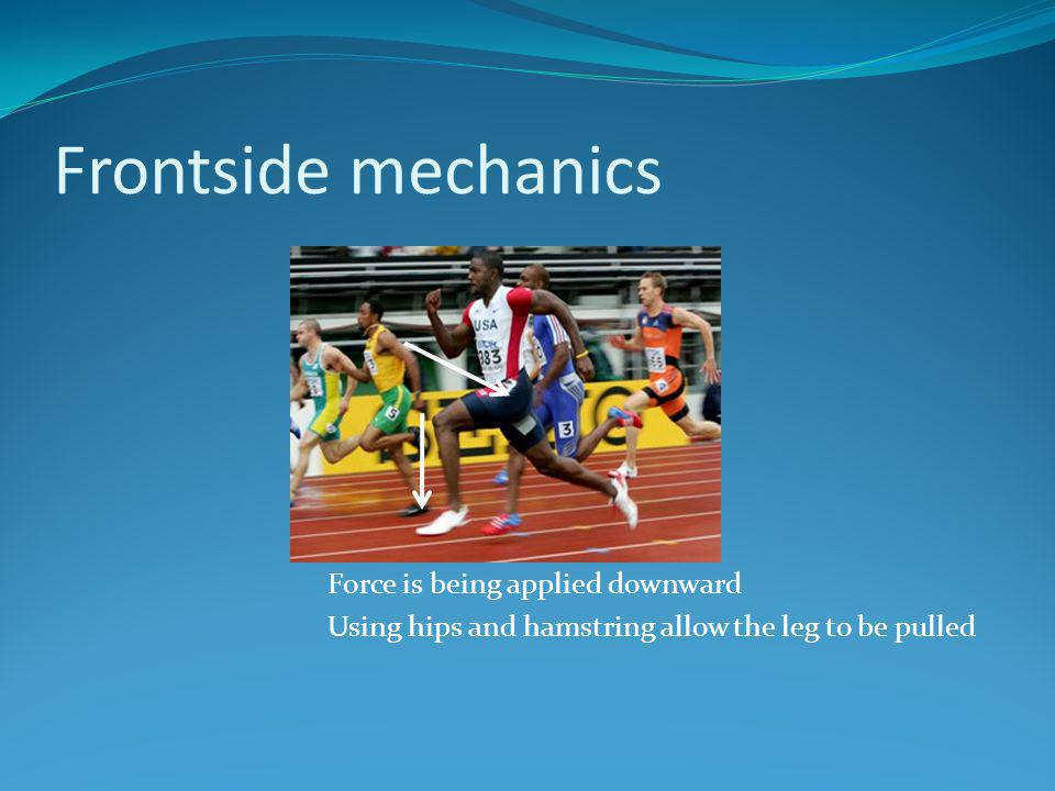 Frontside mechanics Force is being applied downward Using hips and hamstring allow the leg to be pulled