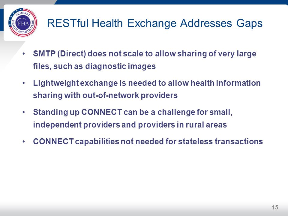 RESTful Health Exchange Addresses Gaps
