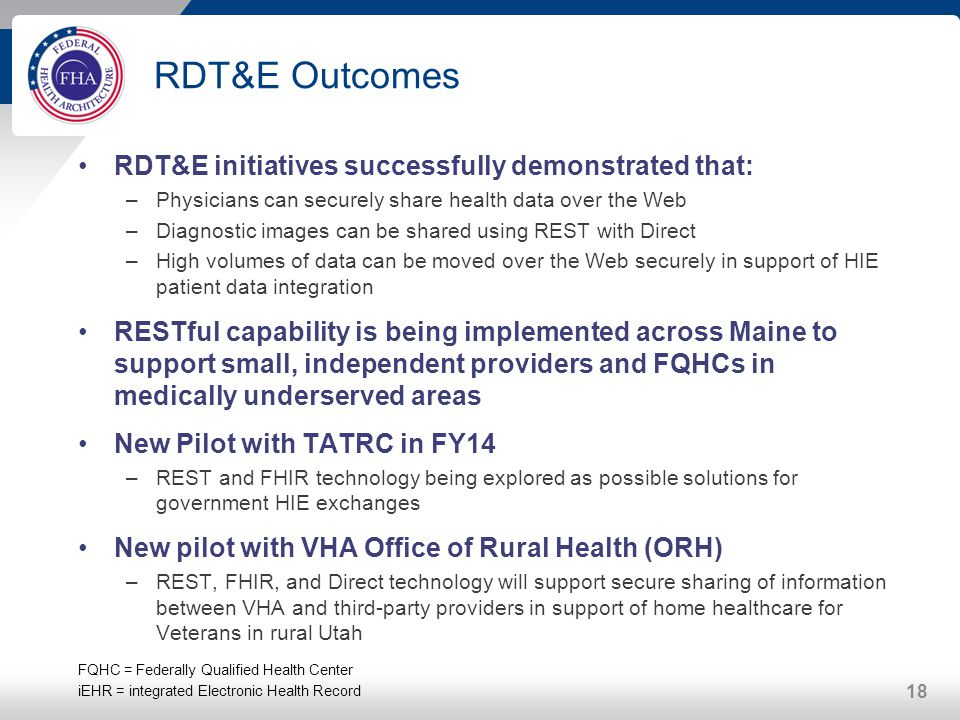 RDT&E Outcomes RDT&E initiatives successfully demonstrated that: