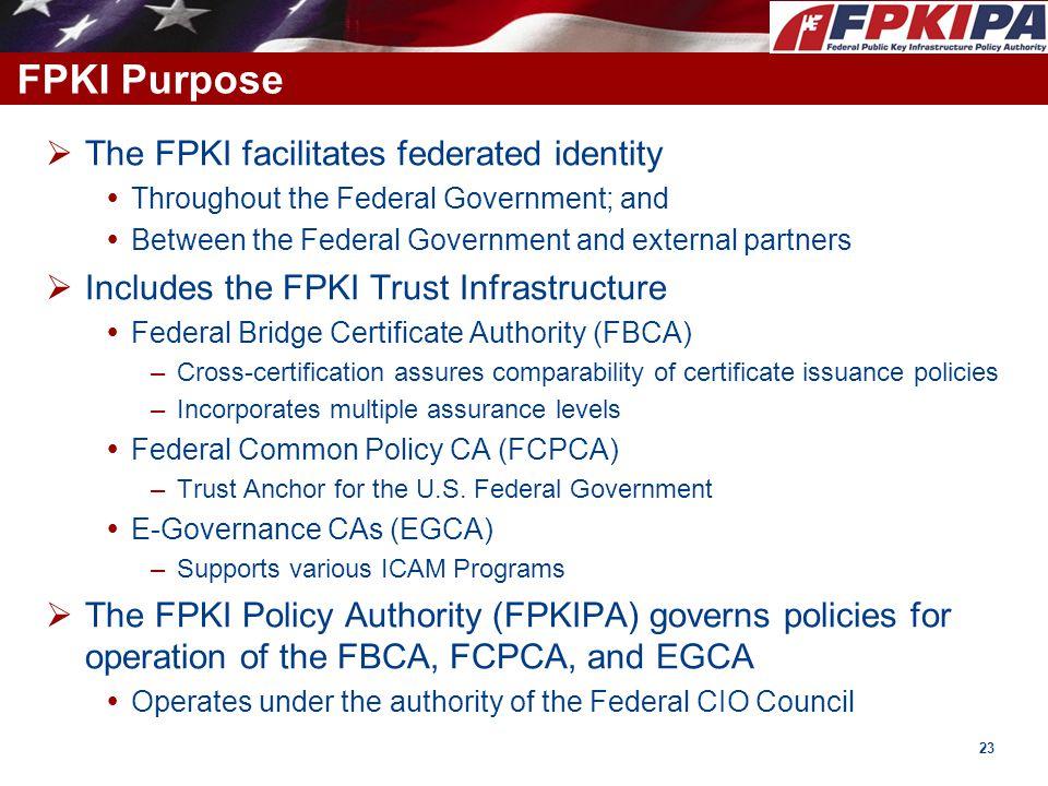 FPKI Purpose The FPKI facilitates federated identity