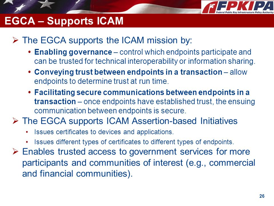EGCA – Supports ICAM The EGCA supports the ICAM mission by: