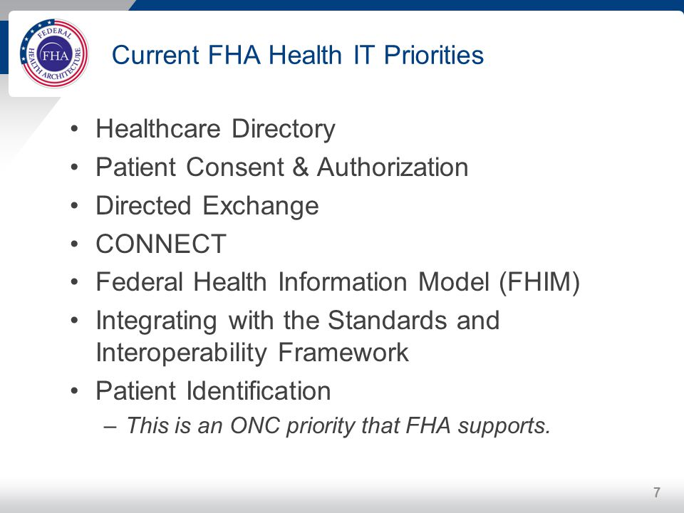 Current FHA Health IT Priorities
