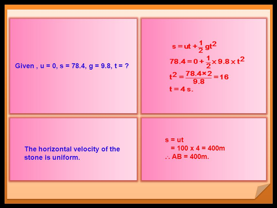 Given , u = 0, s = 78.4, g = 9.8, t = The horizontal velocity of the stone is uniform. s = ut. = 100 x 4 = 400m.