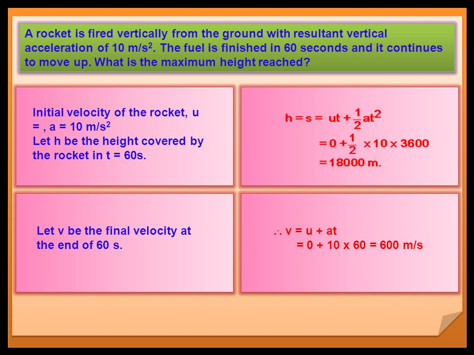 A rocket is fired vertically from the ground with resultant vertical acceleration of 10 m/s2. The fuel is finished in 60 seconds and it continues to move up. What is the maximum height reached