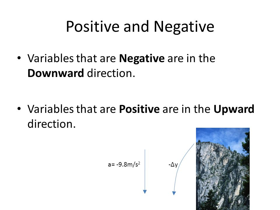 Positive and Negative Variables that are Negative are in the Downward direction. Variables that are Positive are in the Upward direction.