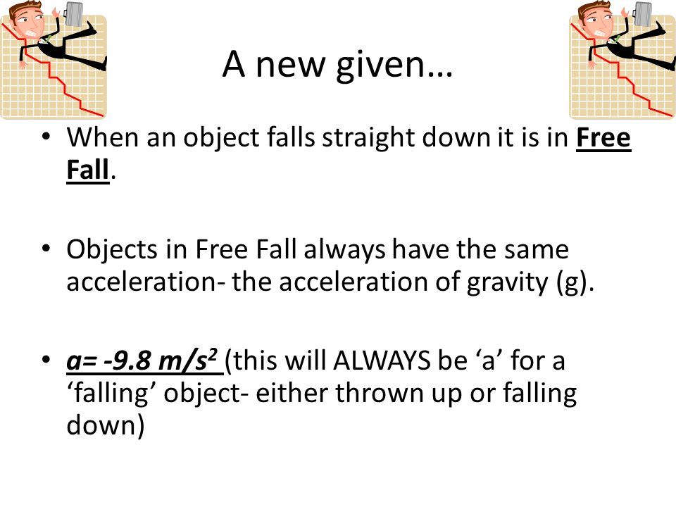 A new given… When an object falls straight down it is in Free Fall.