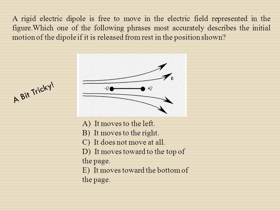 A rigid electric dipole is free to move in the electric field represented in the figure.Which one of the following phrases most accurately describes the initial motion of the dipole if it is released from rest in the position shown