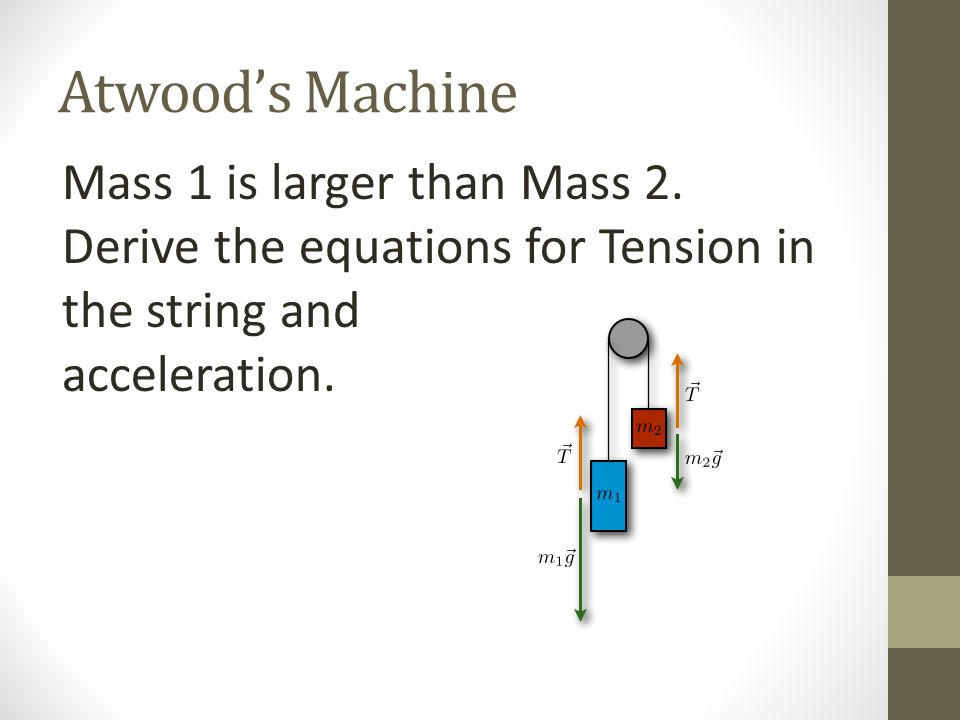 Atwood's Machine Mass 1 is larger than Mass 2.