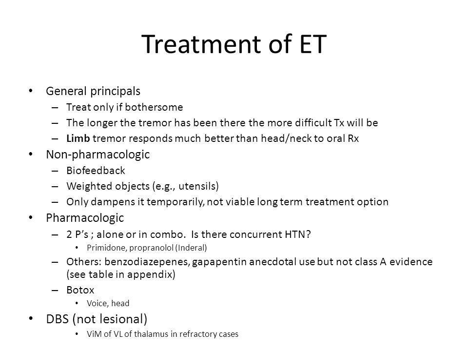 Treatment of ET DBS (not lesional) General principals