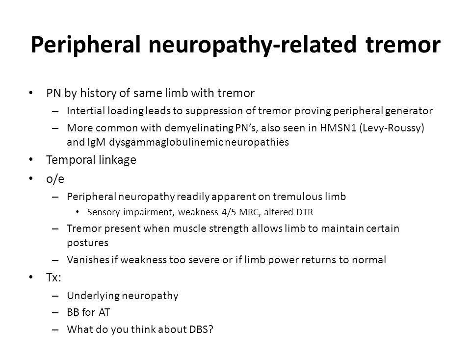 Peripheral neuropathy-related tremor