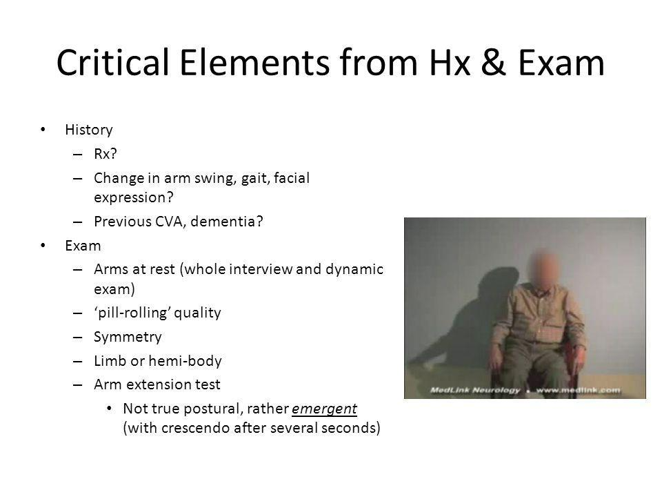 Critical Elements from Hx & Exam