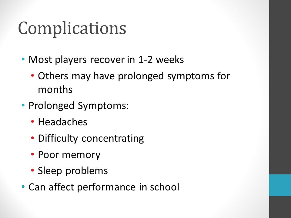 Complications Most players recover in 1-2 weeks