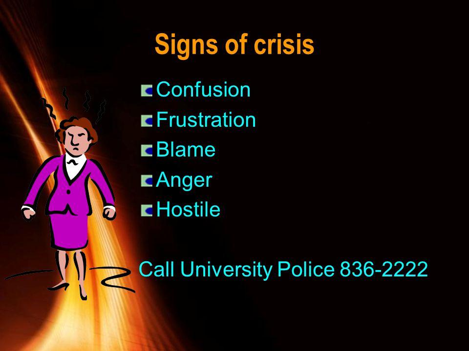 Signs of crisis Confusion Frustration Blame Anger Hostile