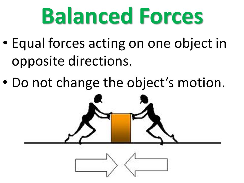 Balanced Forces Equal forces acting on one object in opposite directions.