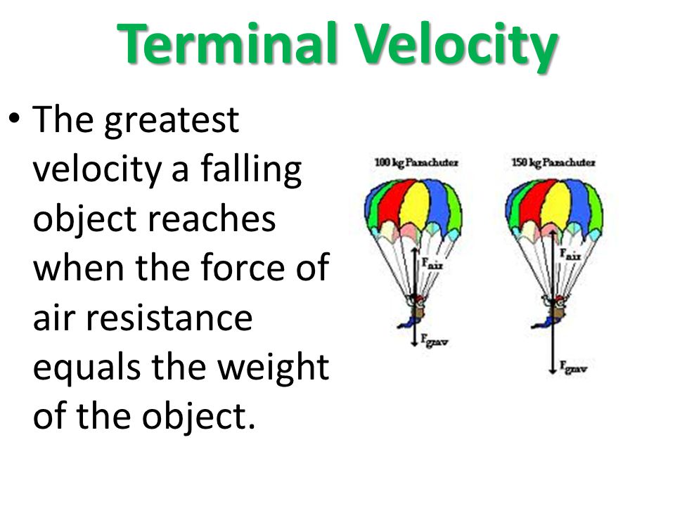 Terminal Velocity The greatest velocity a falling object reaches when the force of air resistance equals the weight of the object.