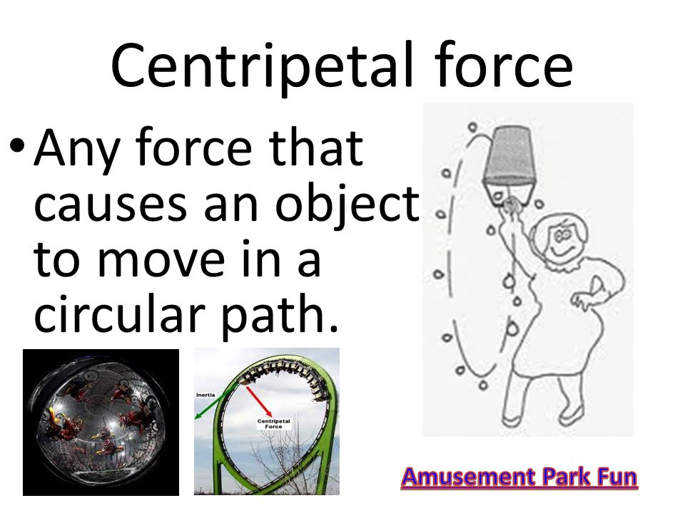 Centripetal force Any force that causes an object to move in a circular path. Amusement Park Fun