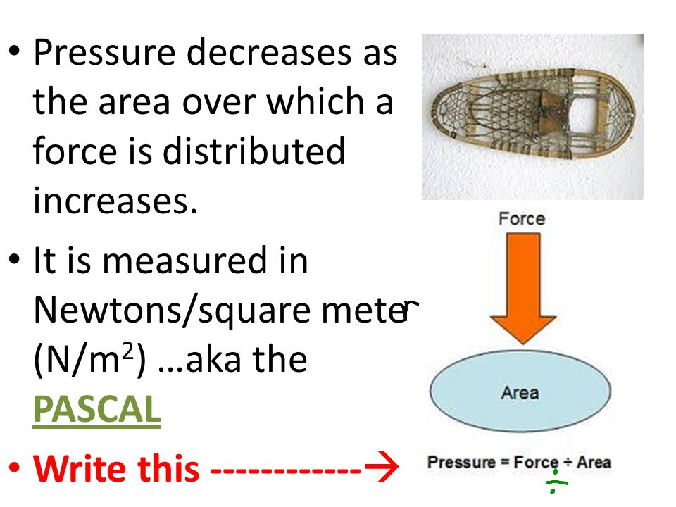 Pressure decreases as the area over which a force is distributed increases.